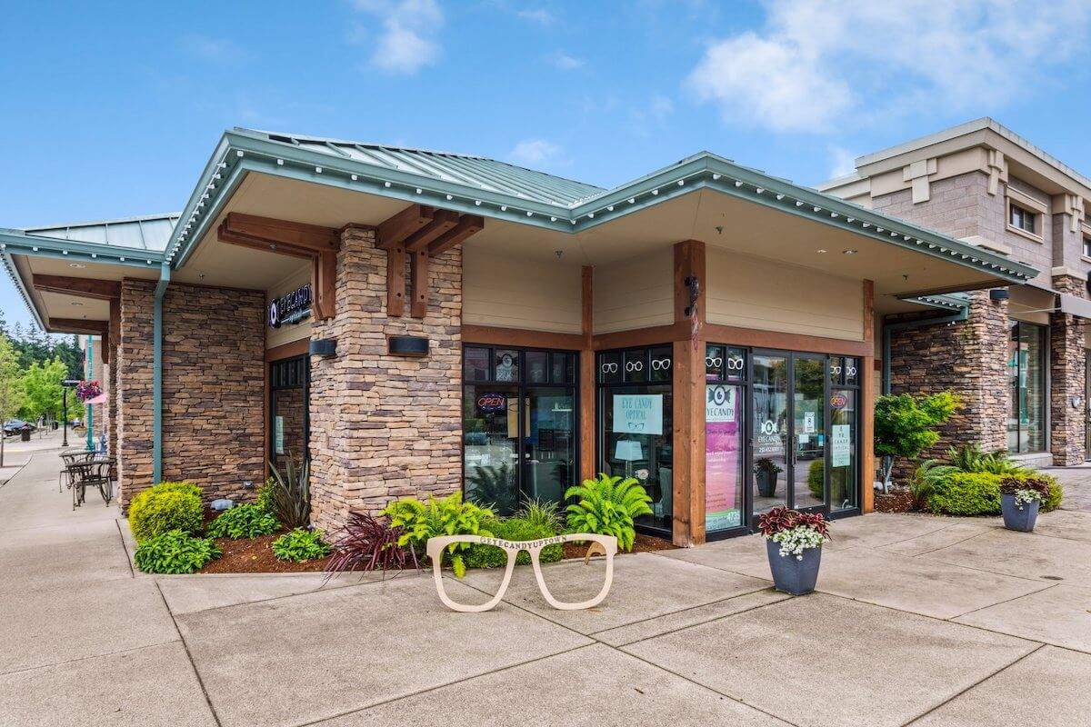 Storefront of Eye Candy Optical at Uptown Gig Harbor
