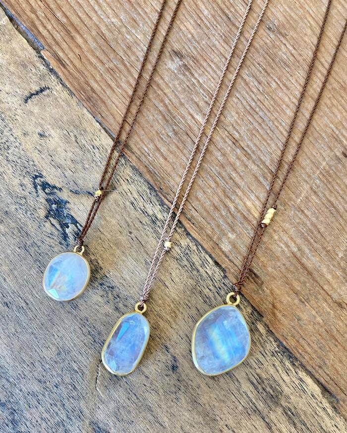 Moonstone necklaces at Bloom Boutique