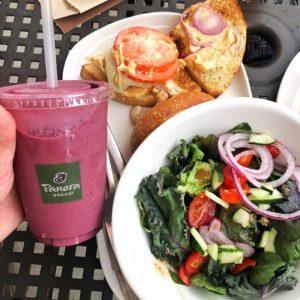 Panera Bread smoothie, salad, and sandwich