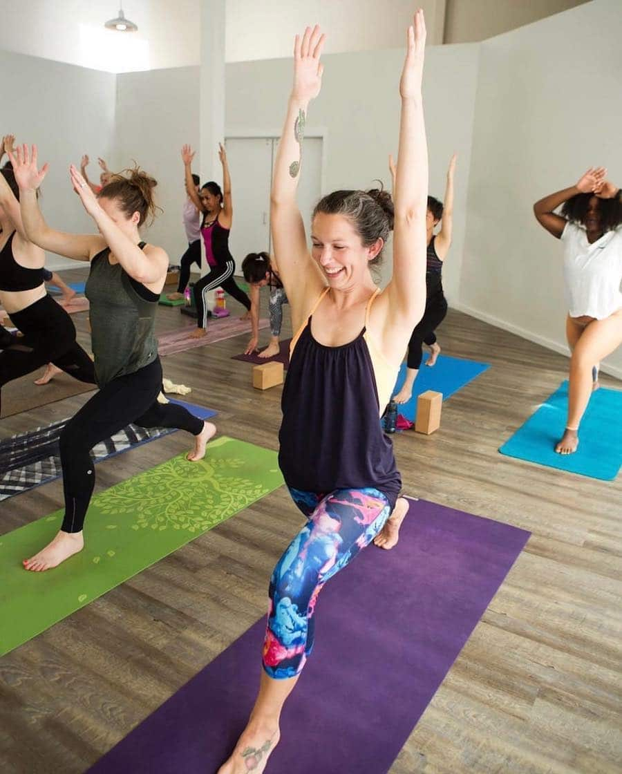Clients in a pose at Tuladhara Yoga at Uptown Gig Harbor